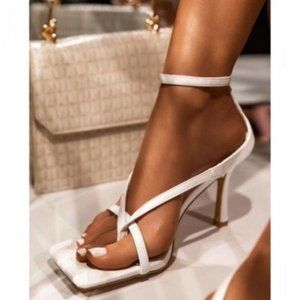 !!NEW!! Square Toe Ankle Wrap Thong Heels – White